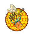 bumblebee carrying honey pot beehive circle vector image vector image