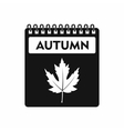 Calendar with maple leaf icon simple style vector image vector image
