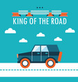 car on the road king of the road flat design vector image vector image