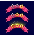 Cartoon stars rank on pink ribbon for game design vector image vector image