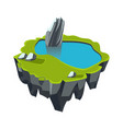 cartoon stone isometric island with waterfall and vector image vector image