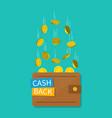 cashback in wallet cash money back bitcoin vector image
