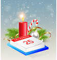 Christmas background with calendar and red candle vector image vector image