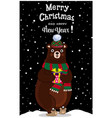 christmas new year greeting card of cute cartoon vector image vector image
