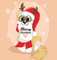 christmas poster a dog cute winter background vector image vector image