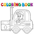 coloring book fork lift truck theme 1 vector image vector image