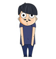 cute cartoon young man with surprise emotions vector image
