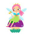 cute fairy sitting on mushroom cartoon little vector image
