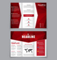 design folding brochure with red polygonal vector image vector image