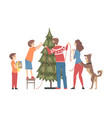 family decorating christmas tree with baubles vector image vector image