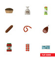 Flat icon meal set of tomato meat tart and other vector image