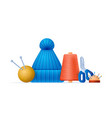 flat style set for knitting isolated vector image vector image