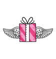 gift box flying cartoon vector image