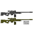 graphic detailed sniper rifle with ammo clip vector image vector image