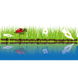 green grass near water vector image vector image
