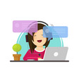 happy girl working on computer on work desk font vector image vector image