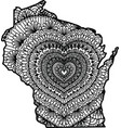 heart in wisconsin state vector image