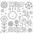 hello spring coloring page black and white vector image