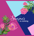 hello summer tropical design floral vintage vector image vector image