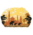 india backgroundelephant building and palm trees vector image vector image