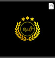 luxury aw initial logo or symbol business company vector image