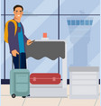 man in airport traveler men with suitcase at vector image vector image