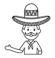 mexican man with mariachi hat vector image