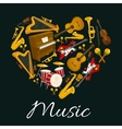 Music emblem of musical instruments in heart shape vector image vector image