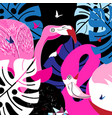 pink flamingos in the tropical jungle vector image