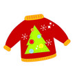 red christmas ugly sweater isolated clip art vector image