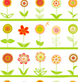 Rows of flowers seamless pattern vector image