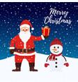 santa claus snowman at christmas night vector image vector image