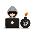 security system hacked mail design vector image