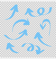 set blue arrow isolated on transparent vector image