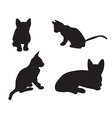 set cats silhouettes isolated on a white backgr vector image vector image
