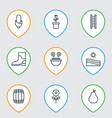 set of 9 holticulture icons includes stairway vector image vector image