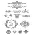 Set of calligraphic design elements and page vector image vector image