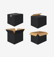 set of four cardboard boxes open and closed black vector image vector image