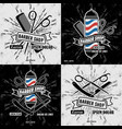 set vintage barber shop logos or badges vector image