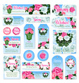 spring rose flower gift tag and label set design vector image vector image