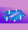 success isometric text design with letters and vector image