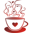 Tea coffee cup valentines day pair vector image