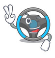 two finger steering wheel in the character shape vector image vector image