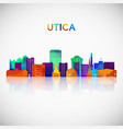 utica skyline silhouette in colorful geometric vector image vector image