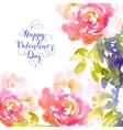 Valentines day greeting with pink roses vector image vector image
