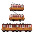 Vintage tram electric train trolleybus Retro vector image