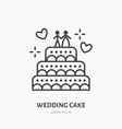 wedding cake confectionery logo flat line icon vector image vector image