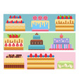 wedding cake pie sweets cards dessert bakery flat vector image