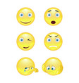 set of smiley face icons or yellow emoticons vector image