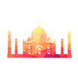 famous indian building of taj mahal vector image